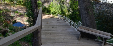 Woodland - Boardwalk with wrought iron balustrade from an Art Deco house